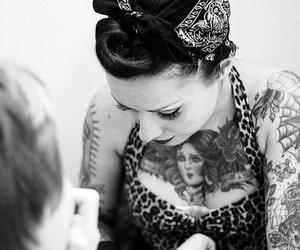 tattoo, Pin Up, and black and white image