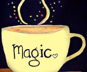 magic, book, and coffee image