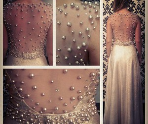 dress, beautiful, and pearls image