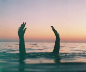 hands, sea, and ocean image