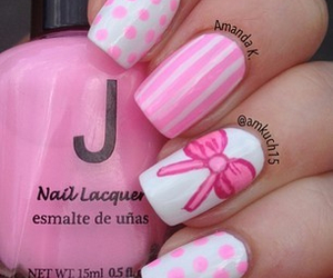 nails, pink, and bow image