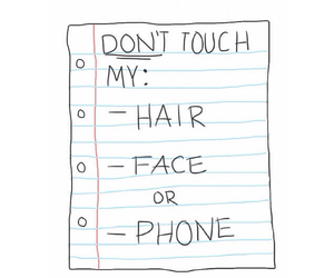 hair, phone, and face image