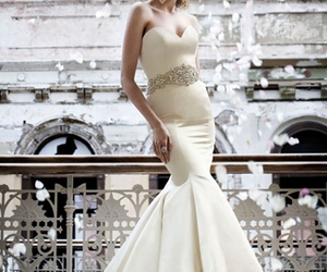beautiful, bridal gown, and mermaid image