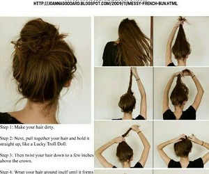 hair, bun, and messy image