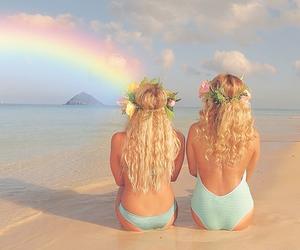 beach, blonde, and girls image