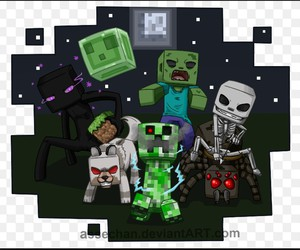 creeper, enderman, and skeleton image