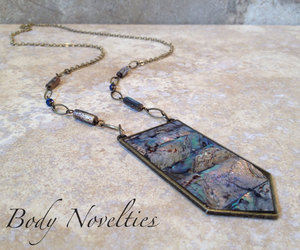 chevrons, abalone necklace, and chevron necklace image