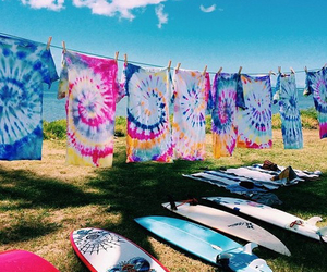 summer, surf, and tie dye image