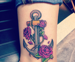 tattoo roses anchor image