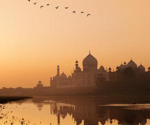india, taj mahal, and sunset image