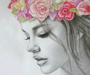 draw, beauty, and flowers image
