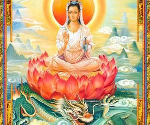 chinese, lotus, and goddess image