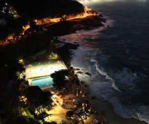 beach, night, and ocean image