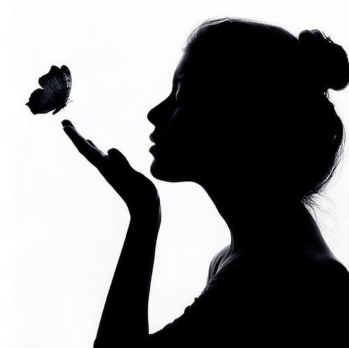 Art beautiful black and white butterfly girl inspiring picture on favim com