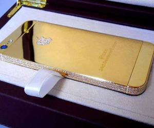 iphone, gold, and diamond image