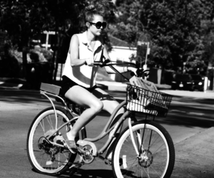 miley, miley cyrus, and bike image