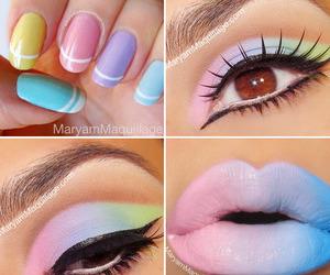 nails, makeup, and lips image