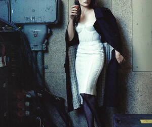 actress, coat, and coffee image