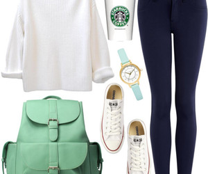 outfit, converse, and starbucks image