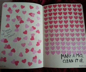 clean, wreck this journal, and hearts image