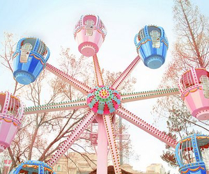 pink, blue, and ferris wheel image