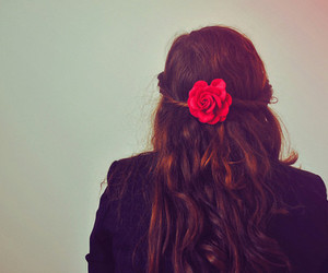 hair, girl, and flower image