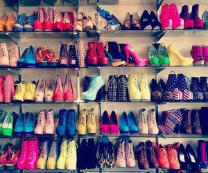 clothes, colourful, and high heels image