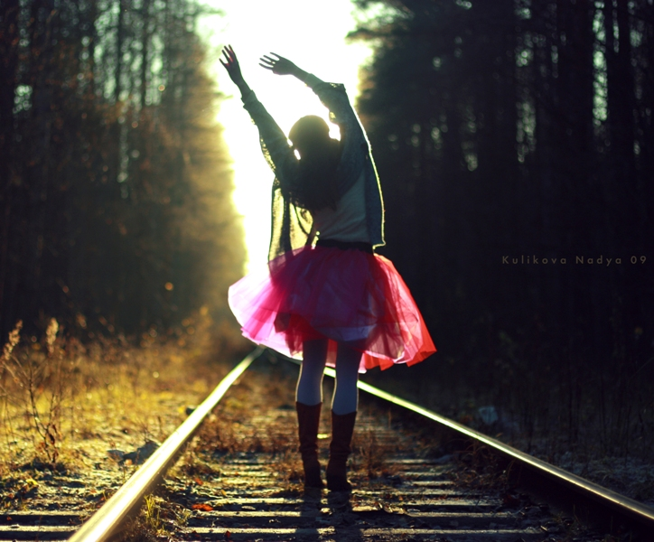 girl, train, and forest image
