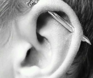 ear, piercing, and industrial image