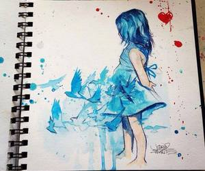 blue, bird, and girl image
