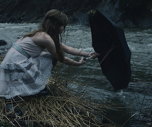 girl, umbrella, and river image