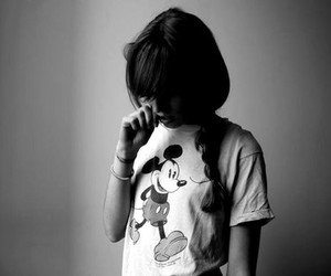 girl, mickey, and black and white image