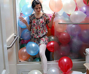girl, balloons, and bathroom image