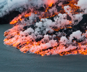 nature, lava, and ocean image