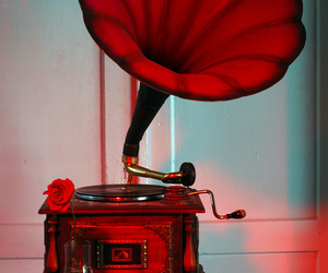 red, music, and vintage image