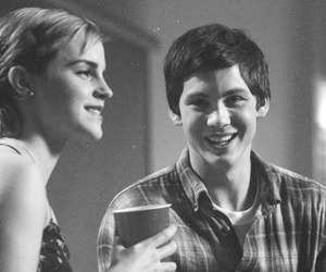 logan lerman, emma watson, and black and white image