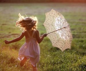 girl, umbrella, and child image