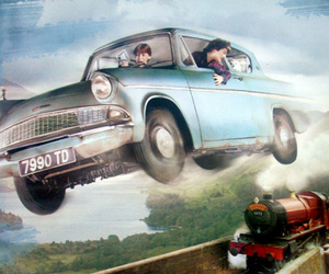 flying car, harry potter, and ford anglia image