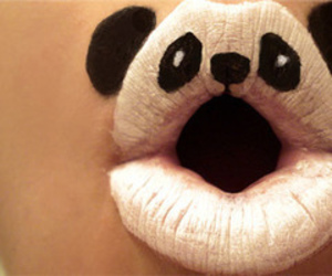 lips, panda, and cute image
