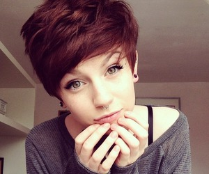 brown hair and piercing image