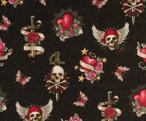 background, heart, and skulls image