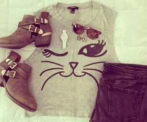 fashion, outfit, and cat image