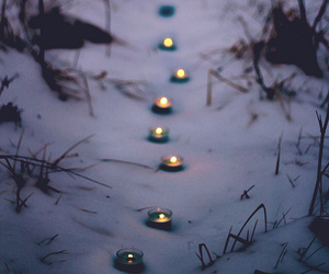 snow, candle, and winter image