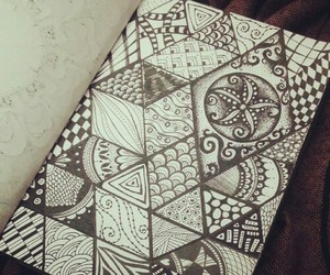 triangle, drawing, and zentangle image