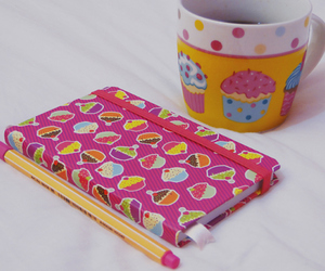 cup, cupcake, and notebook image