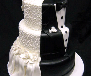 cake, wedding, and bride image
