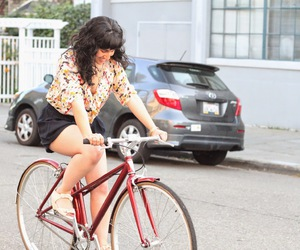bike, girl, and outfit image