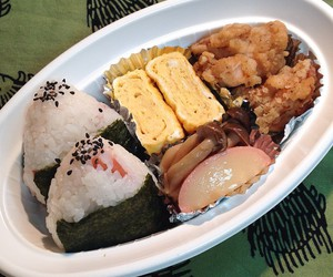 food, rice ball, and tamagoyaki image