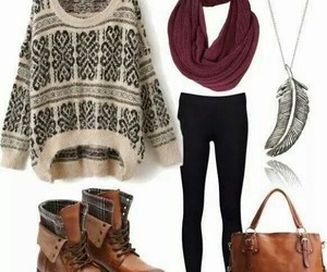 fall outfit, casual outfit, and feather necklace image