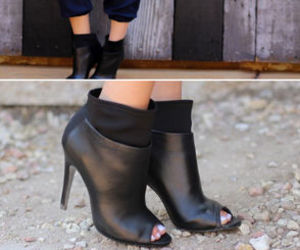 13bab1d48b Kristin Cavallari Chinese Laundry Laney - Black Leather Booties - Peep Toe  Booties - $149.00